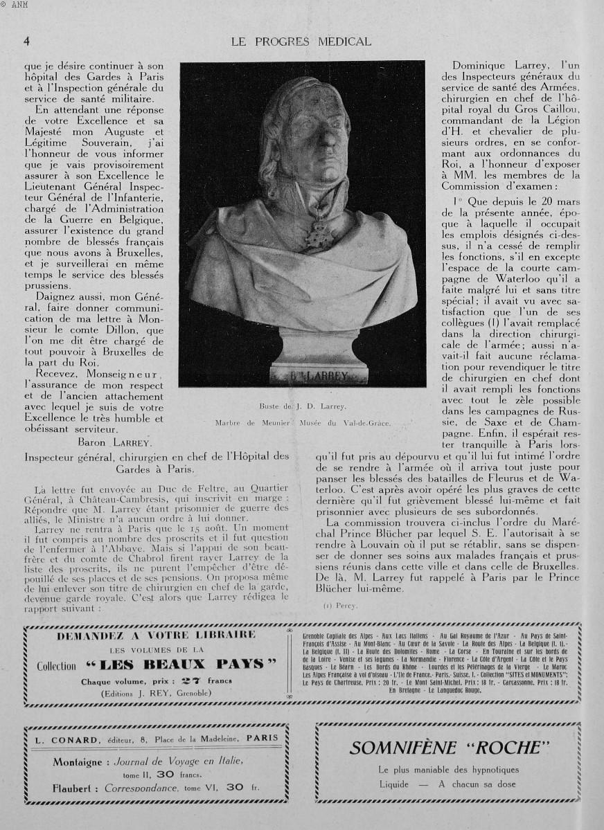 Buste de J. D. Larrey. Marbre de Meunier. Musée de Val-de-Grâce - Le progrès médical -  - med90170x1930xsupx0004