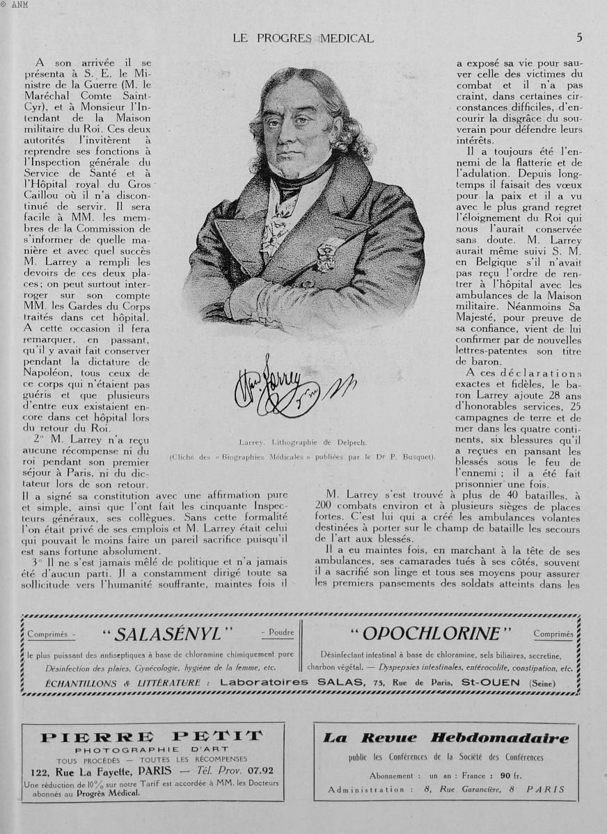 Larrey. Lithographie de Delpech. (Cliché des «Biographies médicales» publiées par le Dr P. Busquet)  [...] -  - med90170x1930xsupx0005