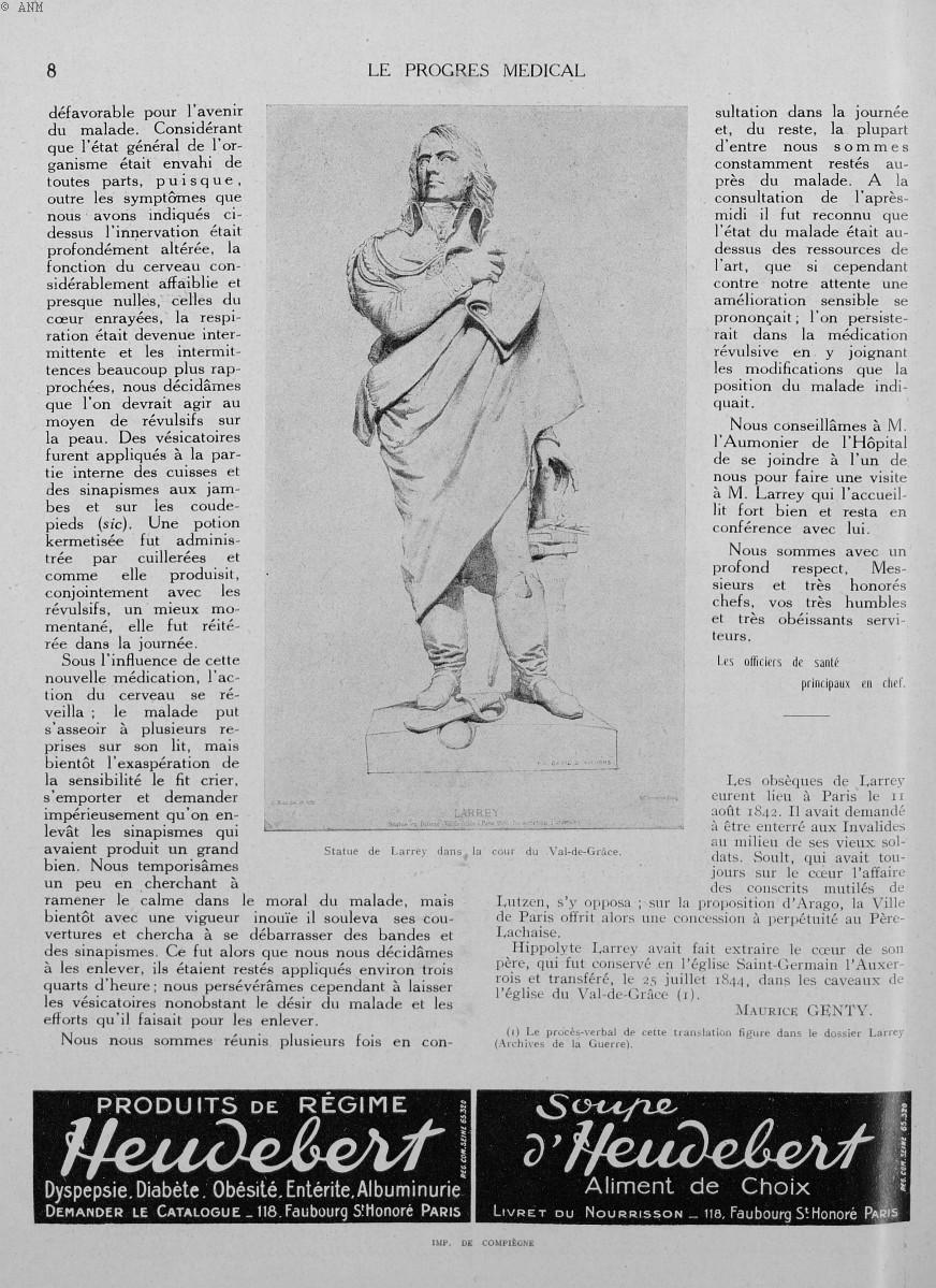 Statue de Larrey dans la cour du Val-de-Grâce - Le progrès médical -  - med90170x1930xsupx0008