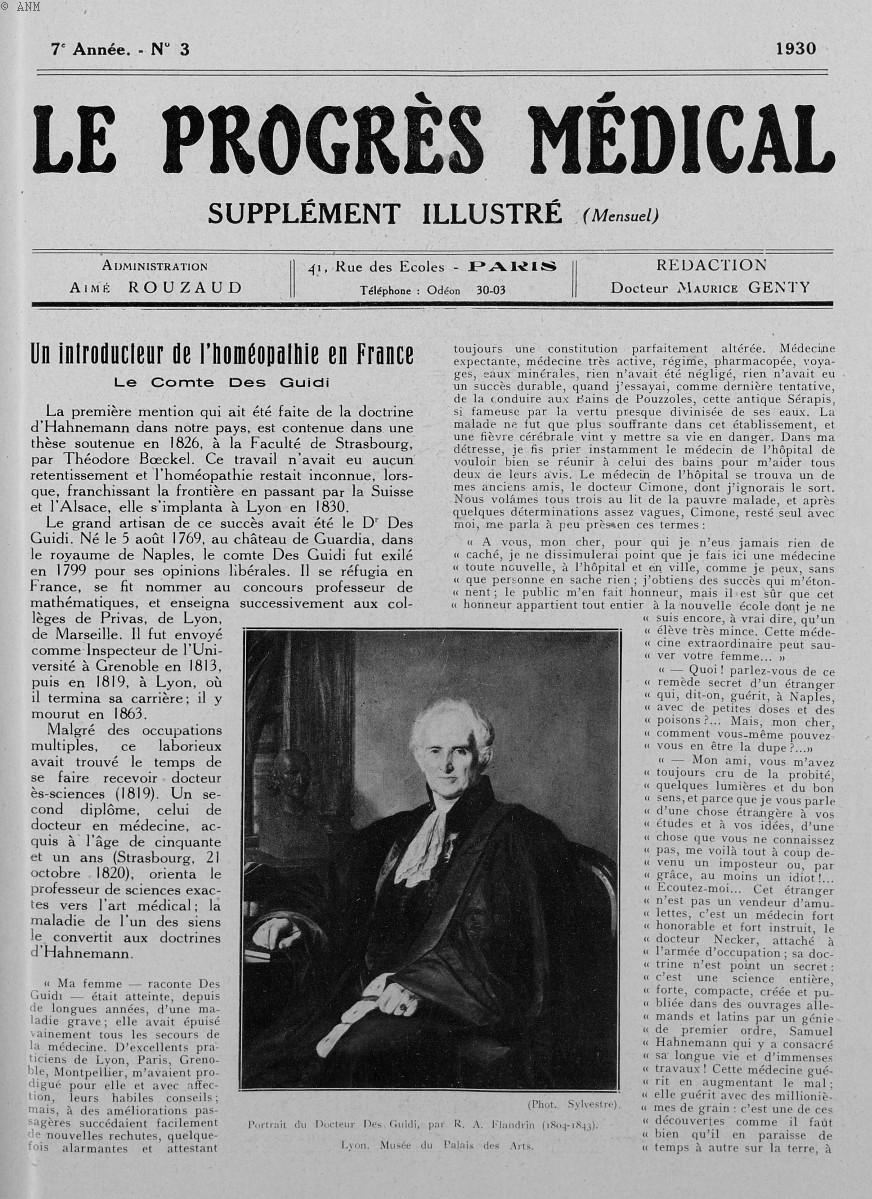 Portrait du Docteur Des Guidi, par R. A. Flandrin (1804-1843). Lyon. Musée du Palais des arts - Le p [...] -  - med90170x1930xsupx0017