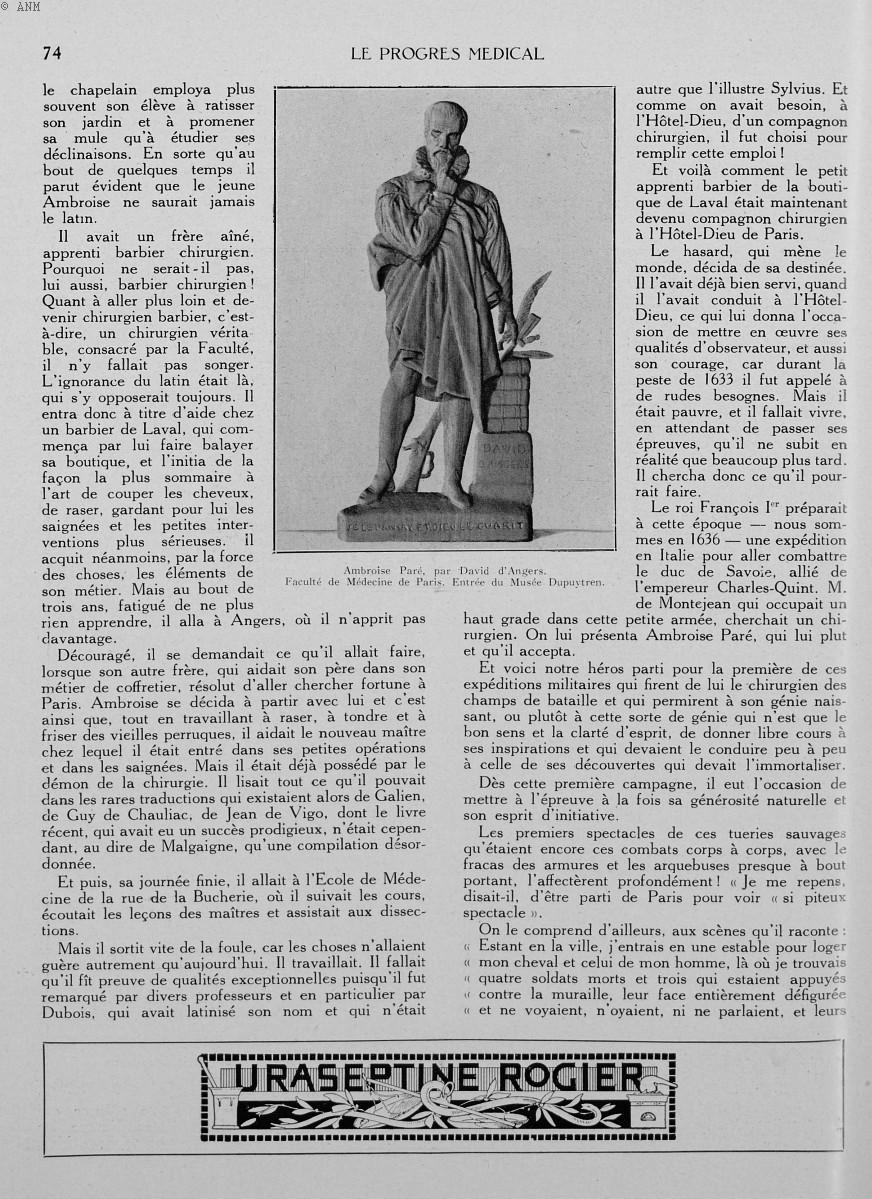 Ambroise Paré, par David d'Angers. Faculté de médecine de Paris. Entrée du Musée Dupuytren - Le prog [...] -  - med90170x1930xsupx0074