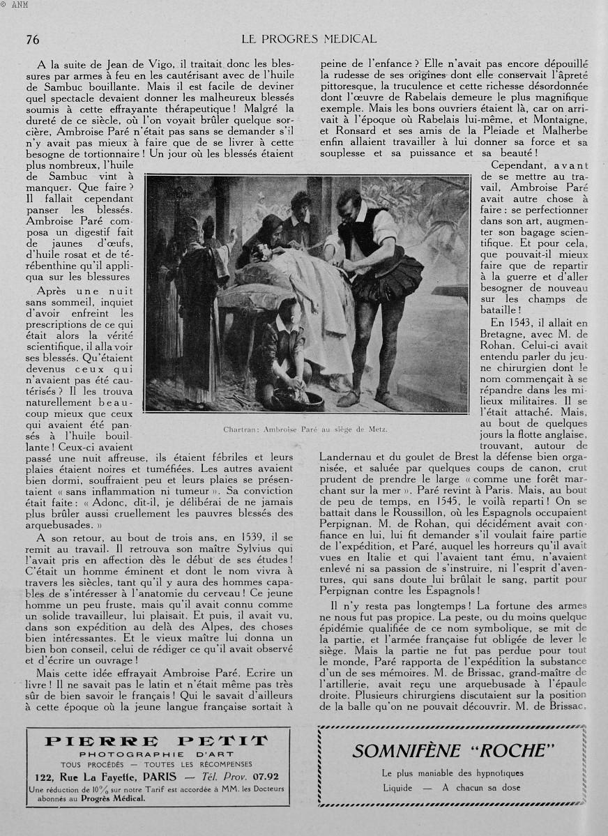 Chartran: Ambroise Paré au siège de Metz - Le progrès médical -  - med90170x1930xsupx0076