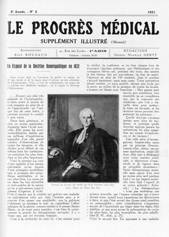 Portrait du Docteur des Guidi, par R.-A. Flandrin (1804-1843) - Le progrès médical -  - med90170x1931xsupx0033