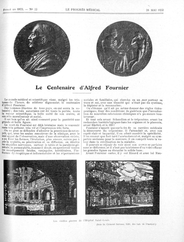 Médaille d'Alfred Fournier / Les vieilles pierres de l'Hôpital Saint-Louis - Le progrès médical -  - med90170x1932x01x0951