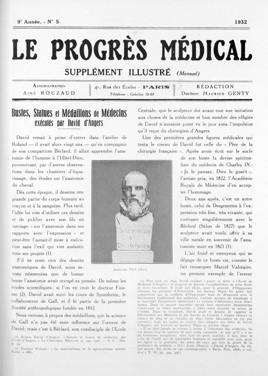 Ambroise Paré (1822) - Le progrès médical -  - med90170x1932xsupx0033