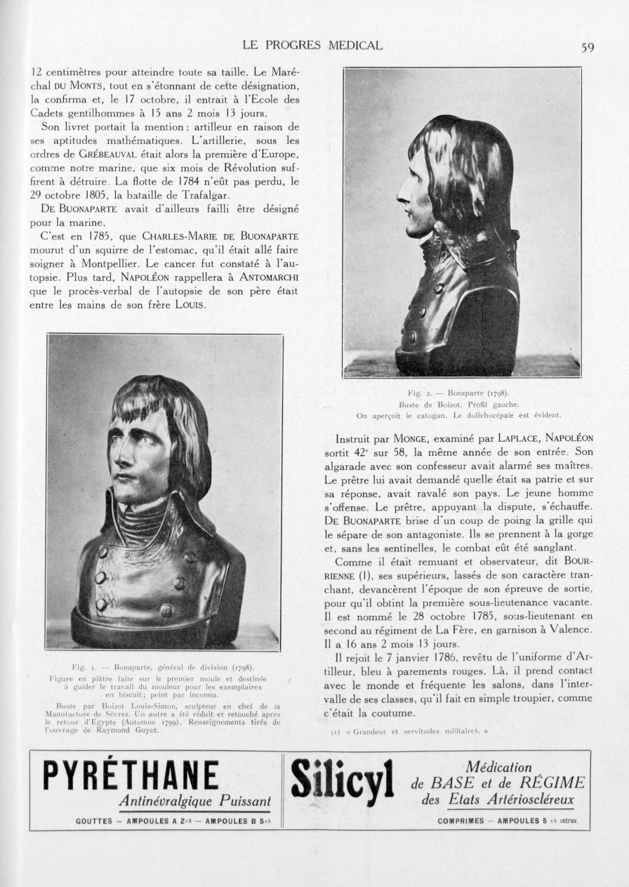 Fig. 1. - Bonaparte, général de division de (1798). Figure en plâtre faite sur le premier moule et d [...] -  - med90170x1933xsupx0059