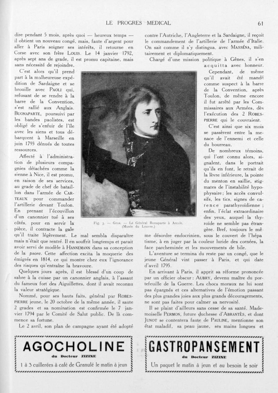 Fig. 3. - Gros. - Le Général Bonaparte à Arcole - Le progrès médical -  - med90170x1933xsupx0061