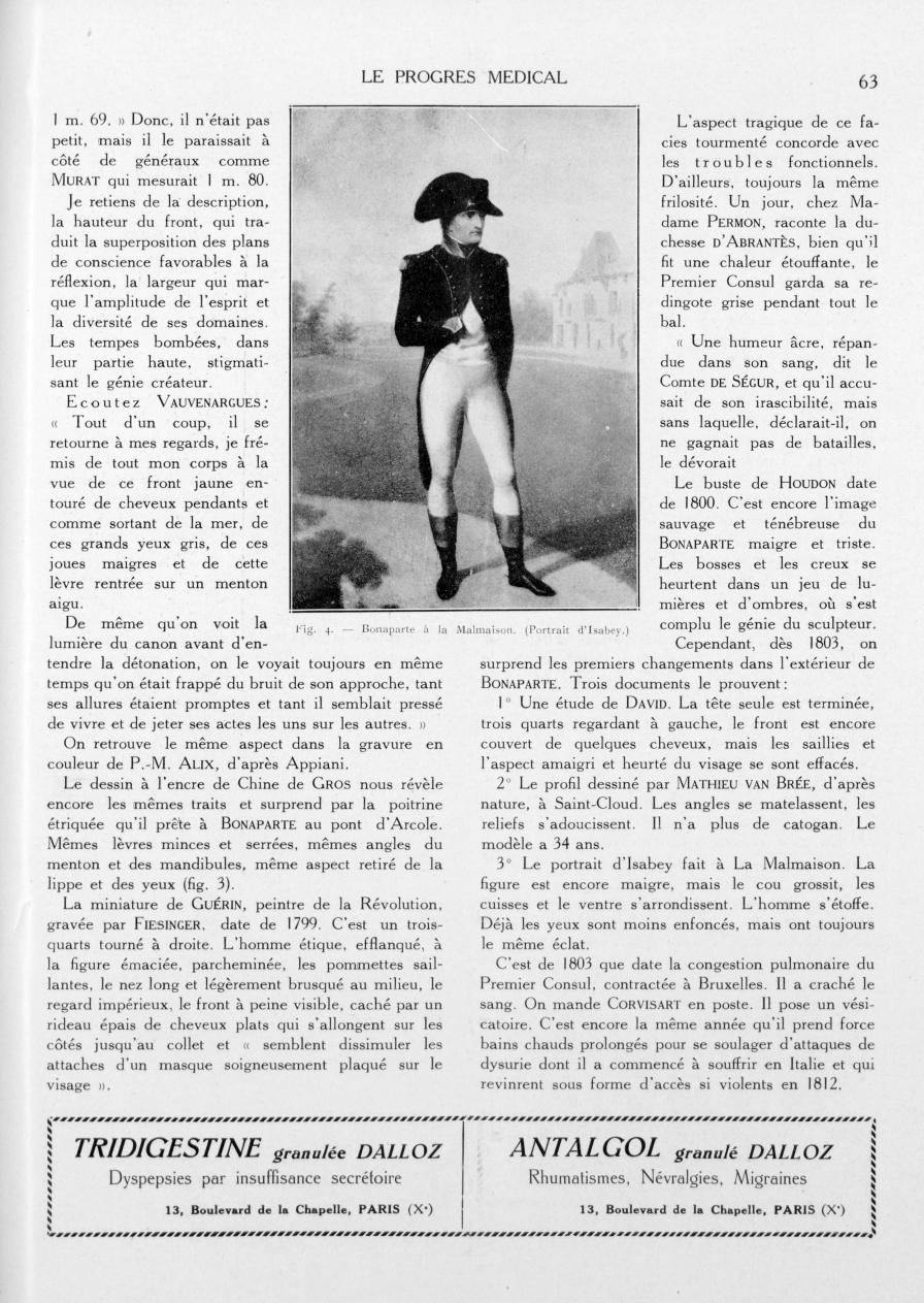 Fig. 4. - Bonaparte à la Malmaison. (Portrait d'Isabey) - Le progrès médical -  - med90170x1933xsupx0063
