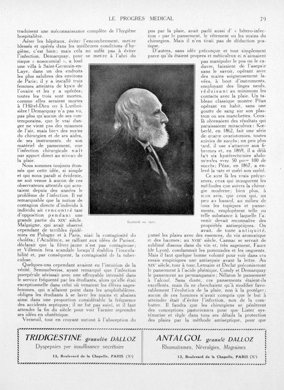 Koeberlé en 1912 - Le progrès médical -  - med90170x1934xsupx0079