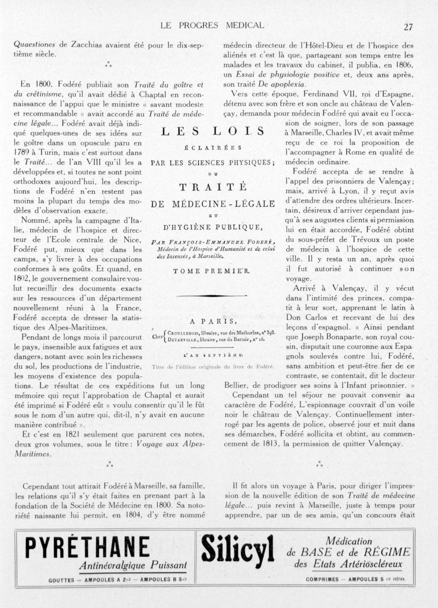 Titre de l'édition originale du livre de Fodéré - Le progrès médical -  - med90170x1935xsupx0027