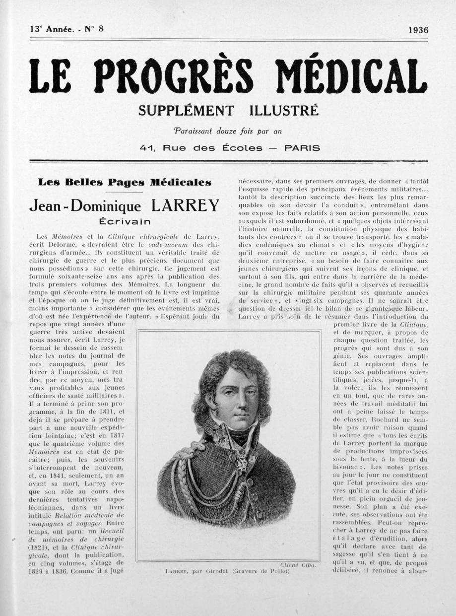 Larrey, par Girodet (Gravure de Pollet) - Le progrès médical -  - med90170x1936xsupx0057
