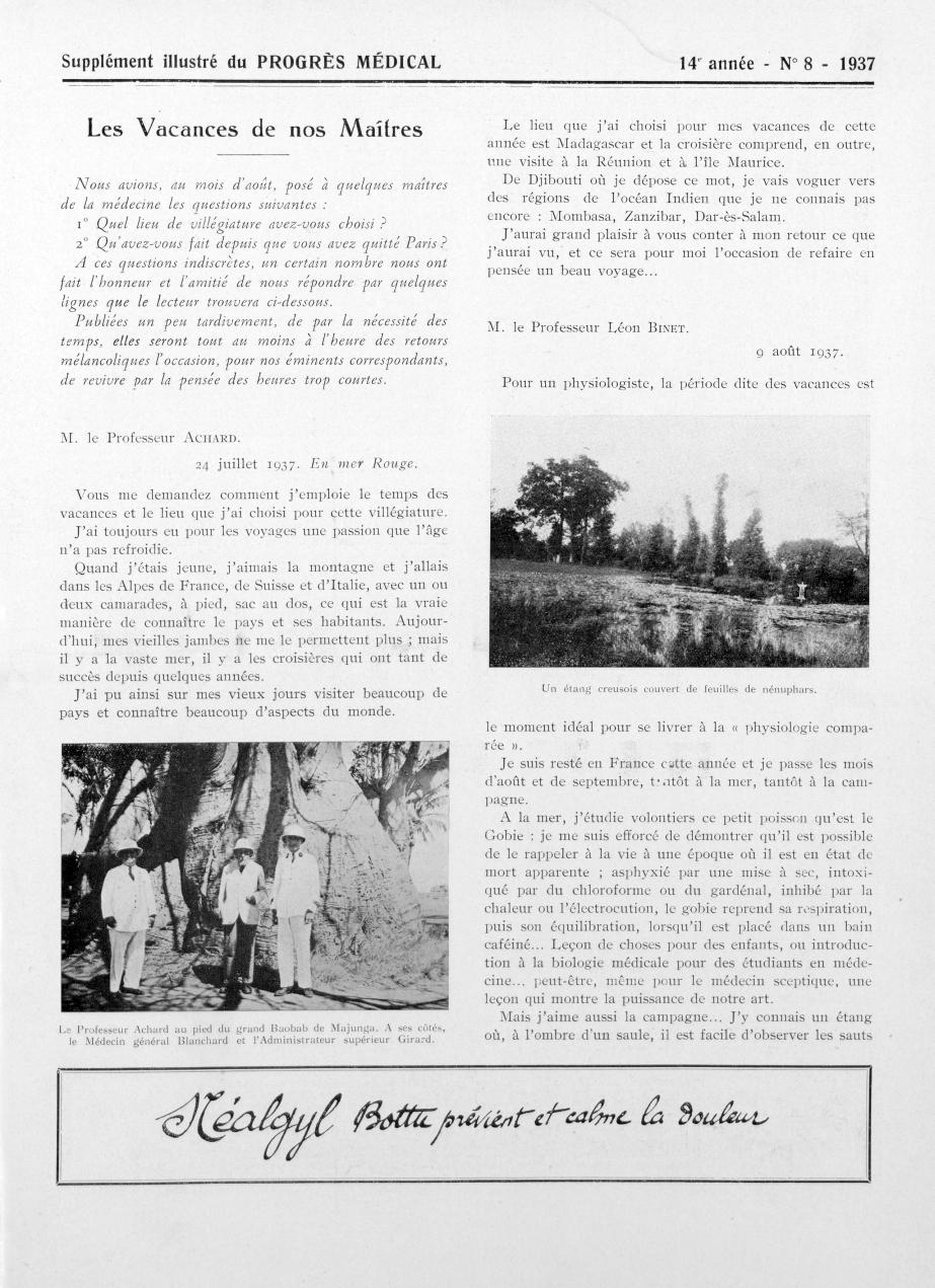 Le Professeur Achard au pied du grand Baobab de Majunga. A ses côtés, le Médecin général Blanchard e [...] -  - med90170x1937xsupx0057