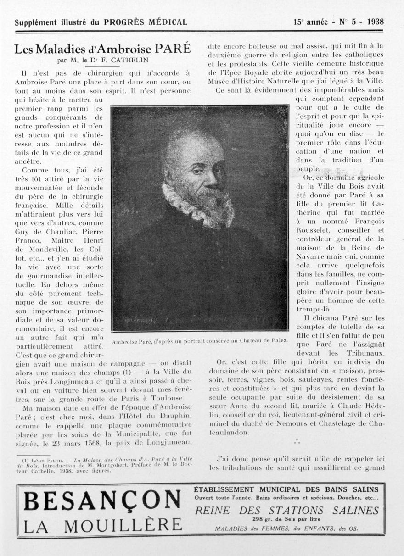 Ambroise Paré, d'après un portrait conservé au Château de Palez - Le progrès médical -  - med90170x1938xsupx0033