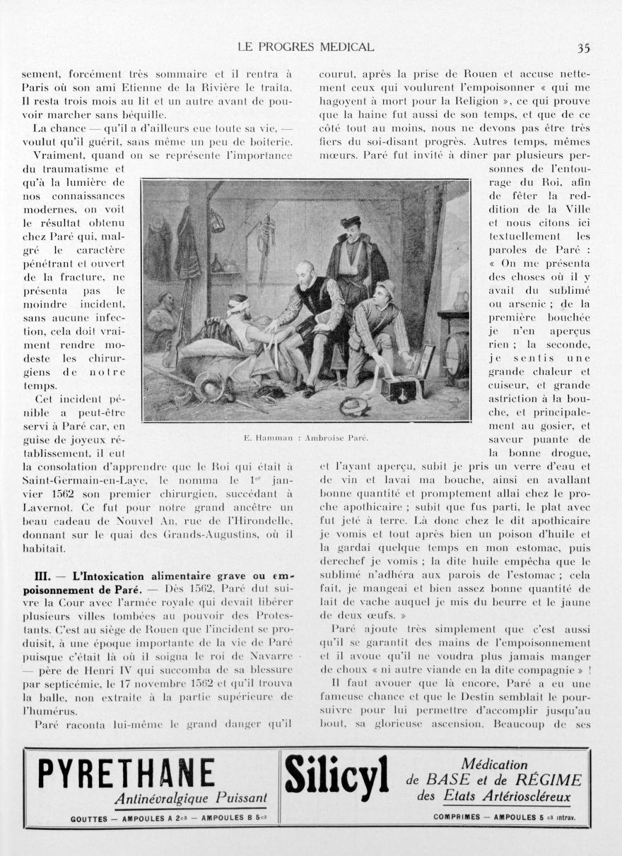 E. Hamman: Ambroise Paré - Le progrès médical -  - med90170x1938xsupx0035