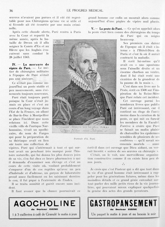 Portrait d'A. Paré - Le progrès médical -  - med90170x1938xsupx0036