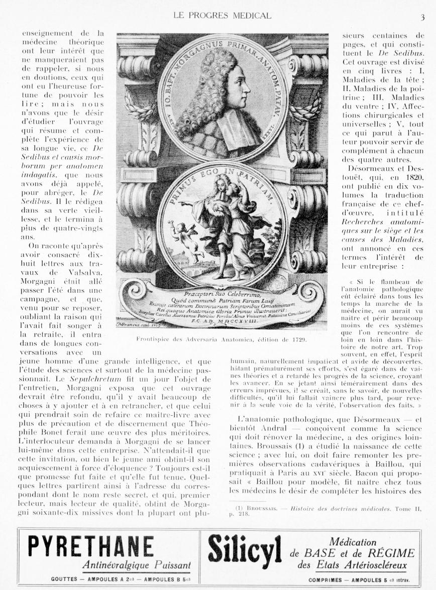 Frontispice des Adversaria Anatomica, édition de 1729 [Morgagni] - Le progrès médical -  - med90170x1940xsupx0003