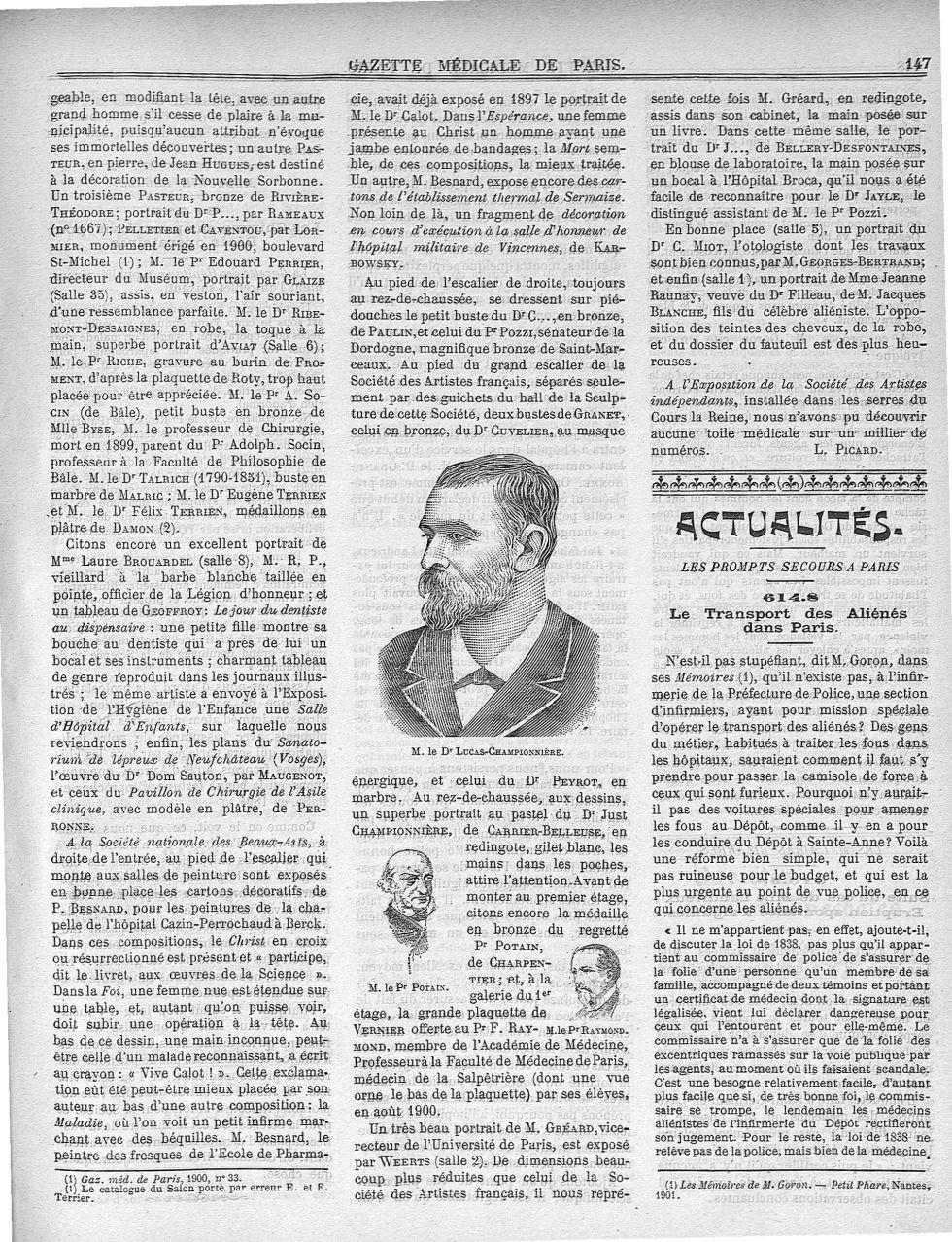 M. le Dr Lucas-Championnière / M. le Pr Potain / M. le Pr Raymond - Médecins. France. 19e siècle. 20e siècle - med90182X1901X01x0151