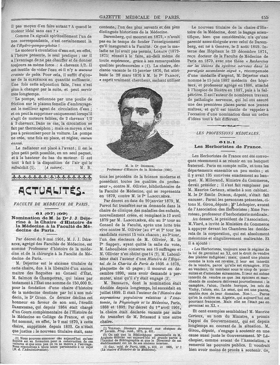 M. le Dr Déjerine - Gazette médicale de Paris : journal de médecine et des sciences accessoires - Médecins. France. 19e siècle. 20e siècle - med90182X1901X01x0159