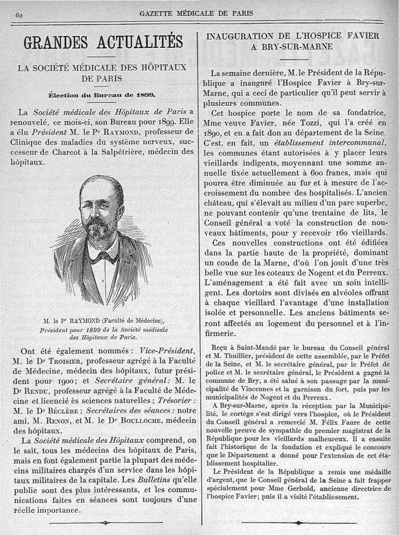 M. le Pr Raymond (Faculté de Médecine) - Gazette médicale de Paris : journal de médecine et des scie [...] - Médecins. France. 19e siècle. 20e siècle - med90182x1899x02x0066