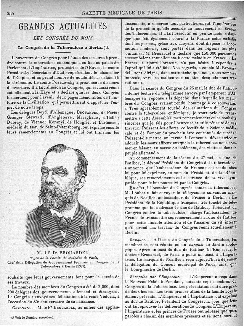 M. Le Dr Brouardel - Gazette médicale de Paris : journal de médecine et des sciences accessoires - Médecins. France. 19e siècle. 20e siècle - med90182x1899x02x0258