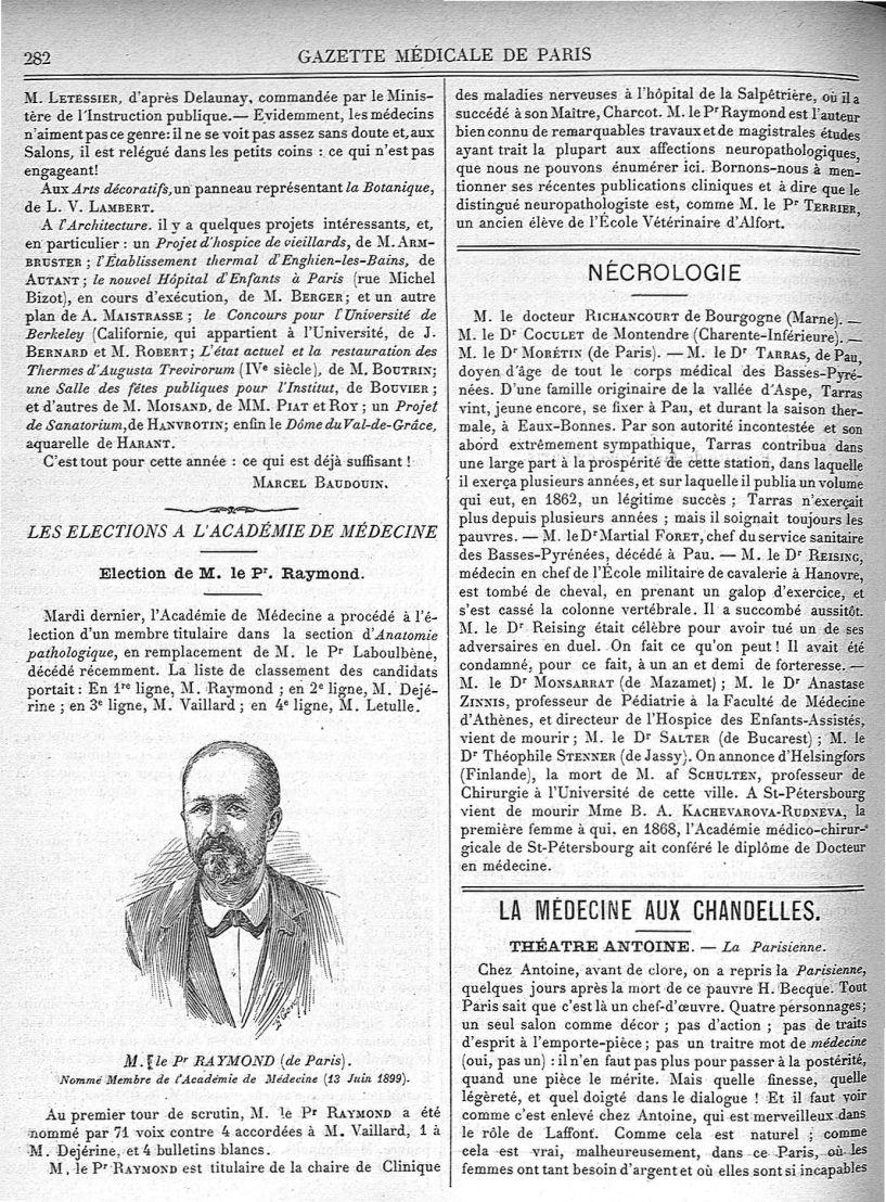 M. le Pr Raymond (de Paris) - Gazette médicale de Paris : journal de médecine et des sciences access [...] - Médecins. France. 19e siècle. 20e siècle - med90182x1899x02x0286