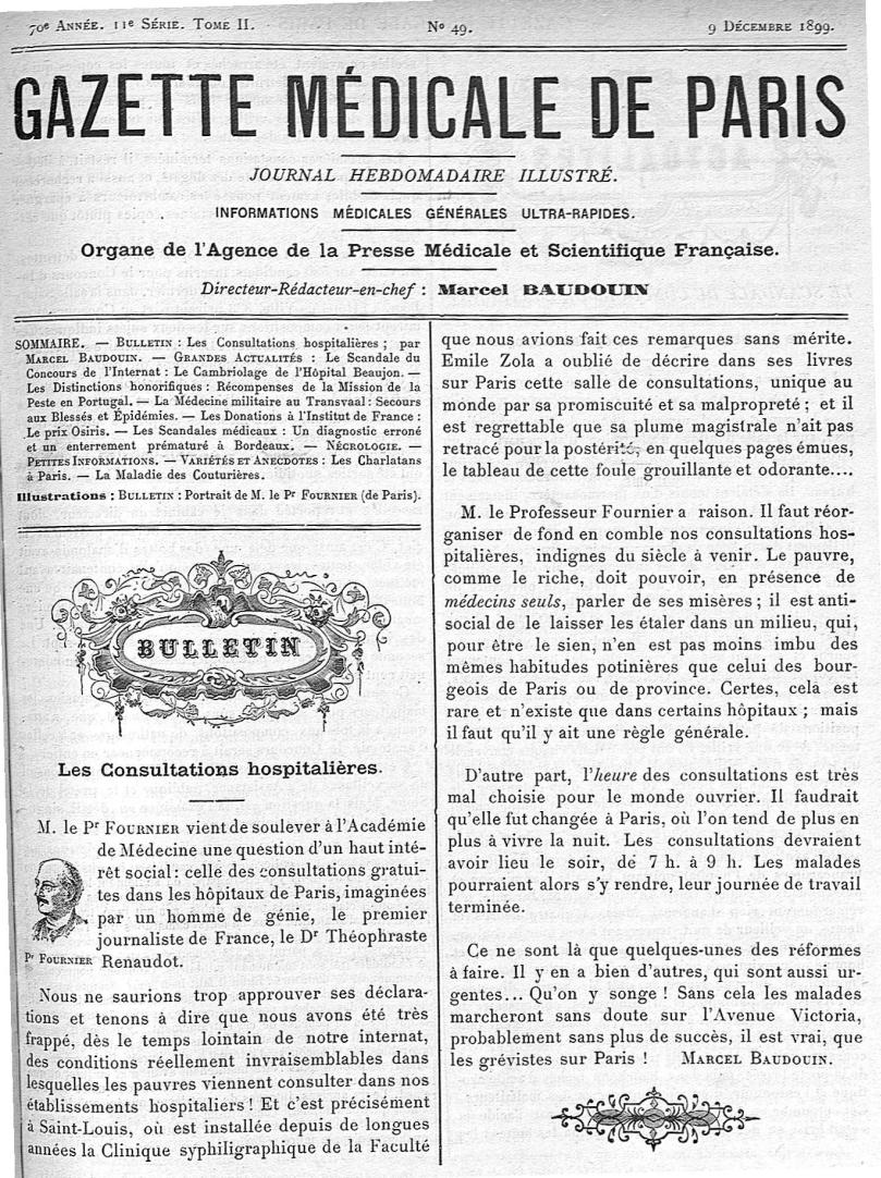 Pr Fournier - Gazette médicale de Paris : journal de médecine et des sciences accessoires - Médecins. France. 19e siècle. 20e siècle - med90182x1899x02x0581