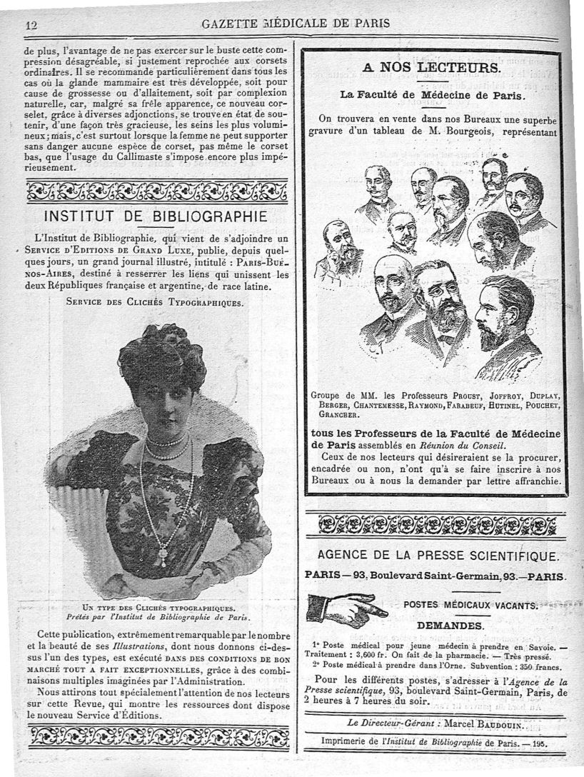 Un type des clichés typographiques / Groupe de MM. les Professeurs Proust, Joffroy, Duplay, Berger,  [...] - Médecins. France. 19e siècle. 20e siècle - med90182x1900x03x0016