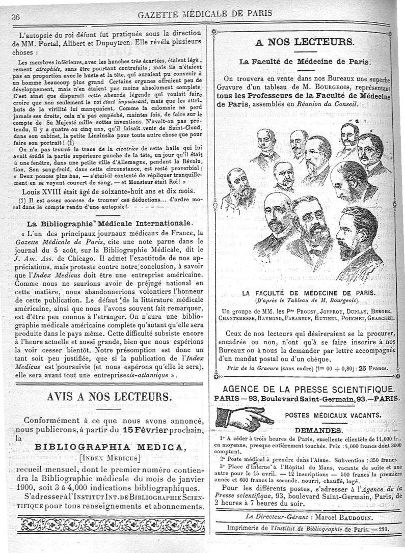 Un groupe de MM. les Prs Proust, Joffroy, Duplay, Berger, Chantemesse, Raymond, Farabeuf, Hutinel, P [...] - Médecins. France. 19e siècle. 20e siècle - med90182x1900x03x0040