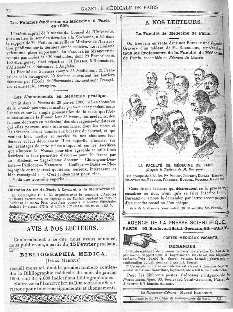 Un groupe de MM. les Prs Proust, Joffroy, Duplay, Berger, Chantemesse, Raymond, Farabeuf, Hutinel, P [...] - Médecins. France. 19e siècle. 20e siècle - med90182x1900x03x0076