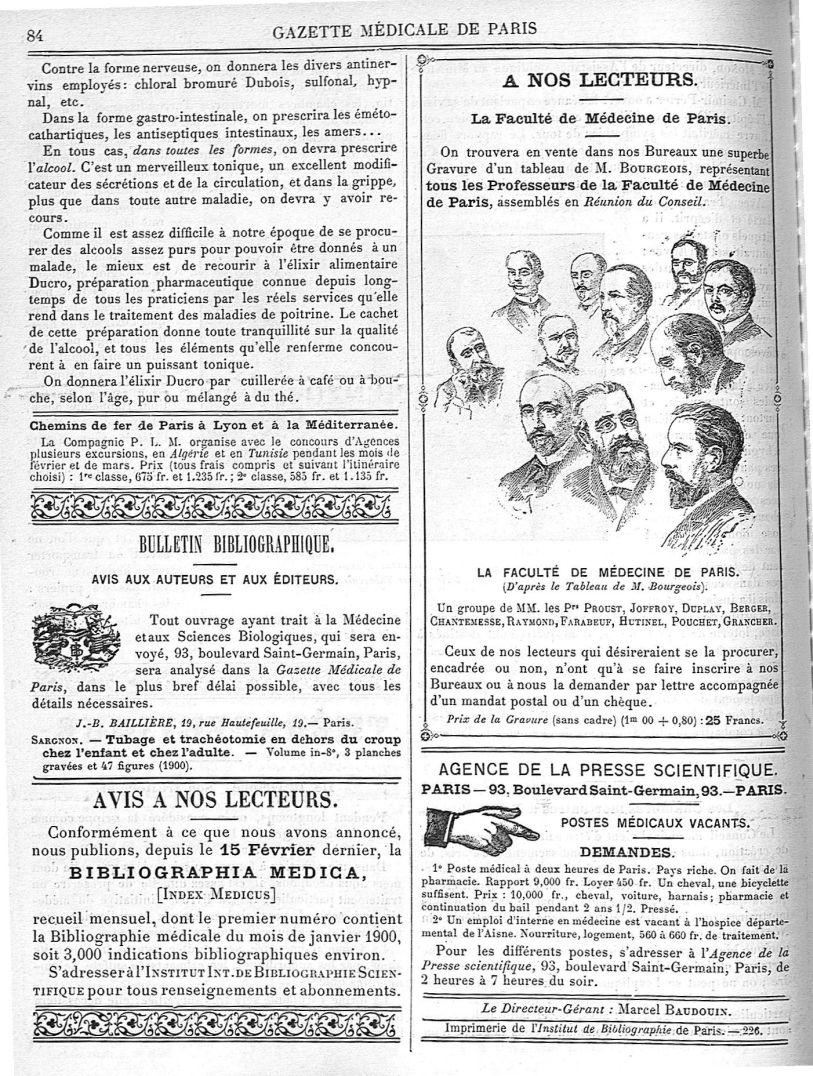 Un groupe de MM. les Prs Proust, Joffroy, Duplay, Berger, Chantemesse, Raymond, Farabeuf, Hutinel, P [...] - Médecins. France. 19e siècle. 20e siècle - med90182x1900x03x0088