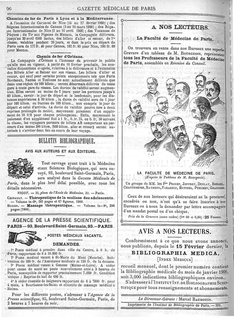 Un groupe de MM. les Prs Proust, Joffroy, Duplay, Berger, Chantemesse, Raymond, Farabeuf, Hutinel, P [...] - Médecins. France. 19e siècle. 20e siècle - med90182x1900x03x0100