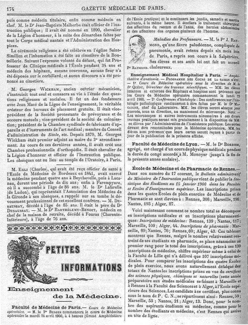 Pr Raymond - Gazette médicale de Paris : journal de médecine et des sciences accessoires - Médecins. France. 19e siècle. 20e siècle - med90182x1900x03x0178