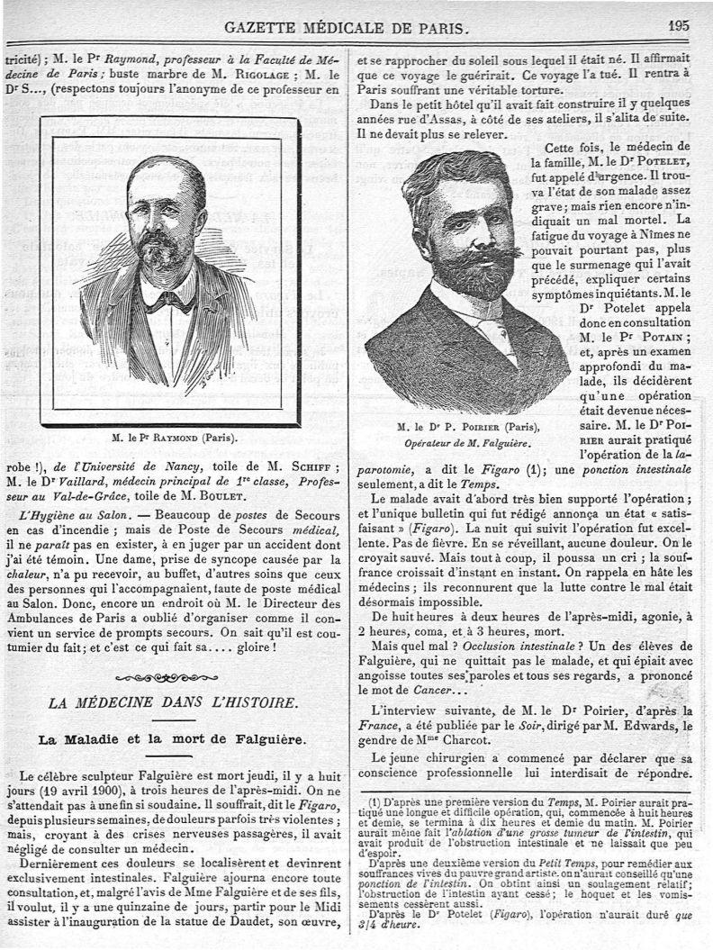 M. le Pr Raymond (Paris) / M. le Dr P. Poirier (Paris) - Gazette médicale de Paris : journal de méde [...] - Médecins. France. 19e siècle. 20e siècle - med90182x1900x03x0199