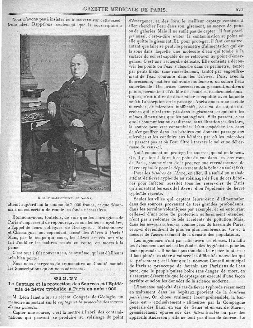 M. le Dr Maisonneuve (de Nantes) - Gazette médicale de Paris : journal de médecine et des sciences a [...] - Médecins. France. 19e siècle - med90182x1900x03x0481