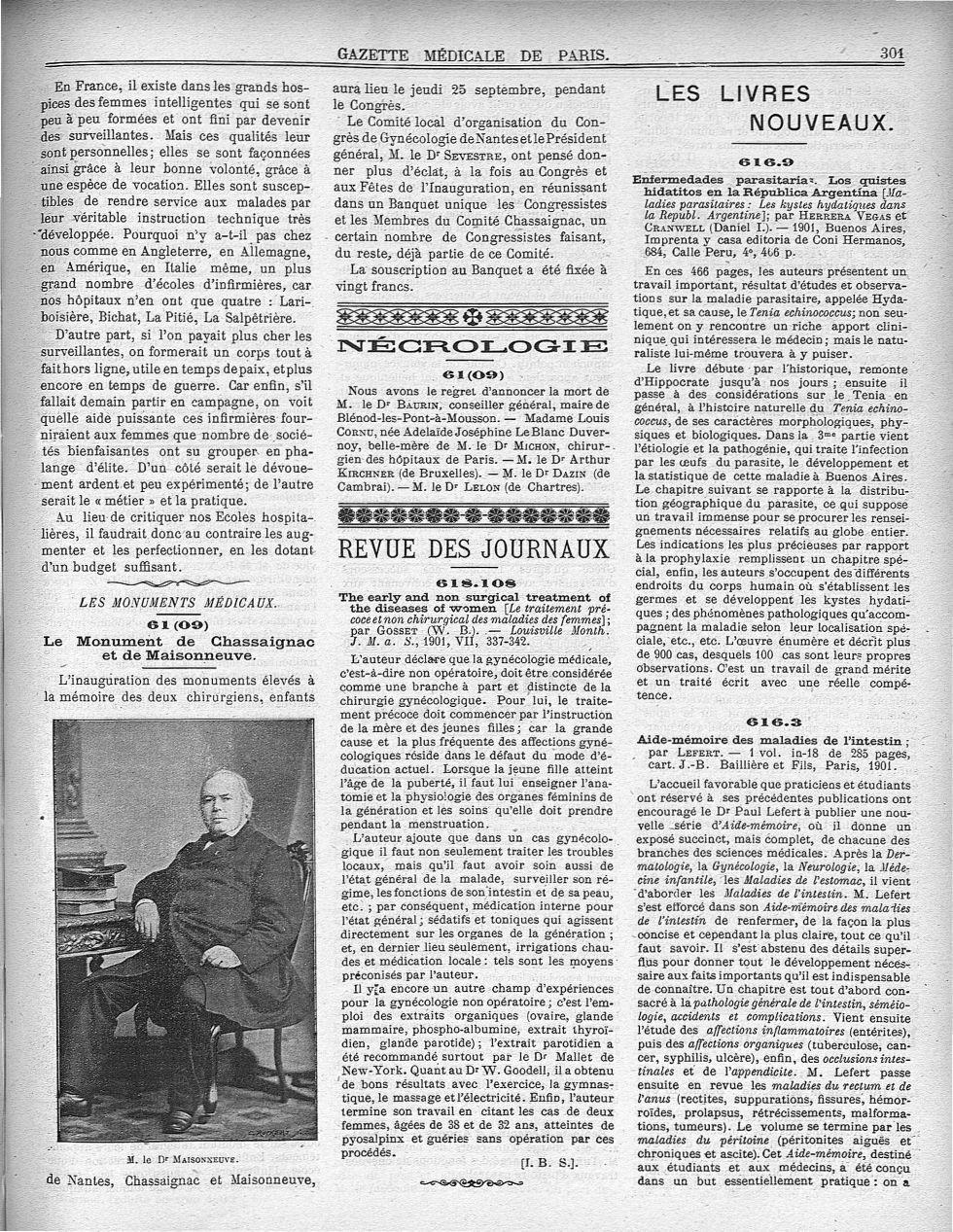 M. le Dr Maisonneuve - Gazette médicale de Paris : journal de médecine et des sciences accessoires - Médecins. France. 19e siècle - med90182x1901x01x0305