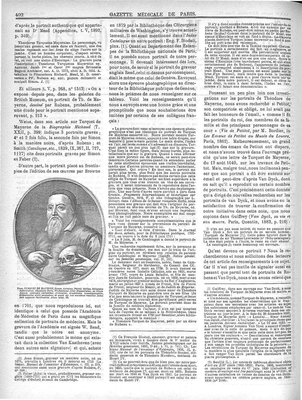Theo. Turquet de Mayerne - Gazette médicale de Paris : journal de médecine et des sciences accessoir [...] - Médecins. 17e siècle (France) - med90182x1904x04x0406