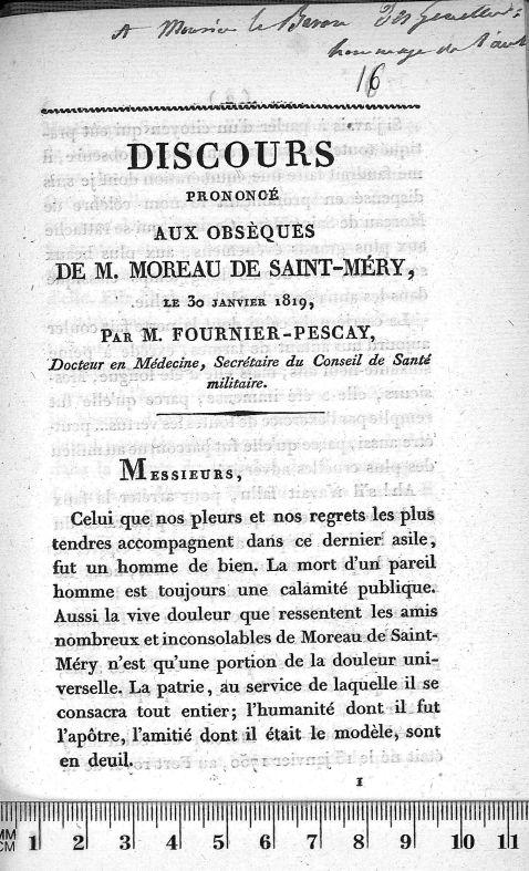 A Monsieur le Baron Des Genettes : hommage de l'auteur - Discours prononcé aux obsèques de M. Moreau [...] - Autographes. 19e siècle (France) - med90945x09x16x0001