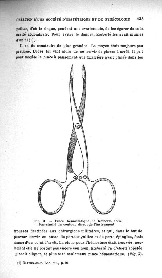 Fig.3. Pince hémostatique de Koeberlé 1865 - Création d'une Société d'obstétrique et de gynécologie  [...] -  - medannee191238x0029