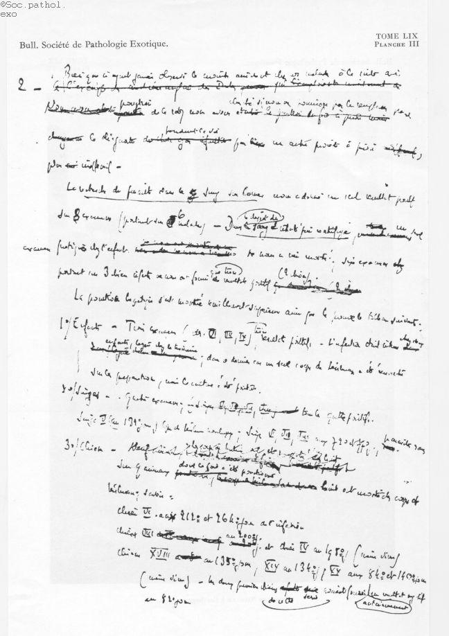 Fig. 2. Manuscrit d'une communication présenté par Charles Nicolle à la Société de Pathologie Exotiq [...] -  - medbspex1966x0477
