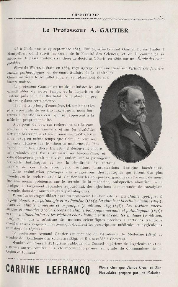 Le Professeur A. Gautier - Chanteclair -  - medchanteclx1909x04x0043