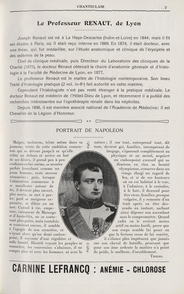 Portrait de Napoléon - Chanteclair -  - medchanteclx1909x04x0107