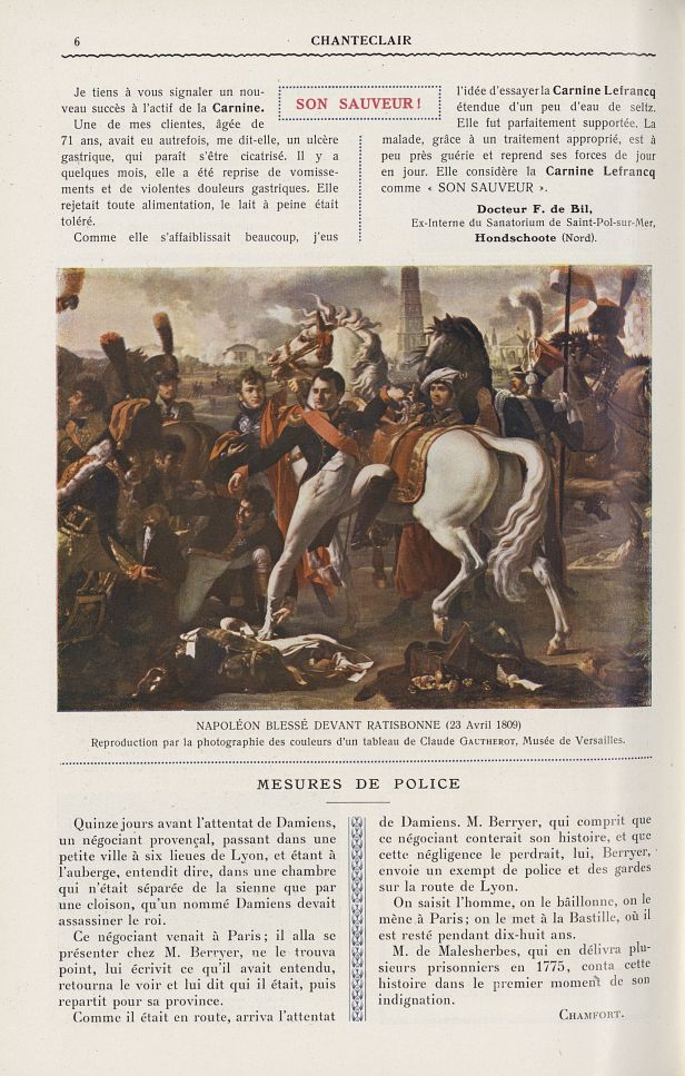 Napoléon blessé devant Ratisbonne (23 avril 1809) (Claude Gautherot) - Chanteclair -  - medchanteclx1911x06x0110