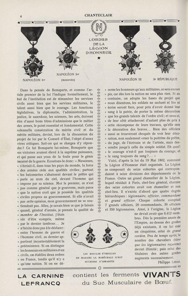 Napoléon Ier / Napoléon Ier (modifiée) / Napoléon III / 3e République / Les boucles d'oreilles de Ma [...] -  - medchanteclx1912x07x0052