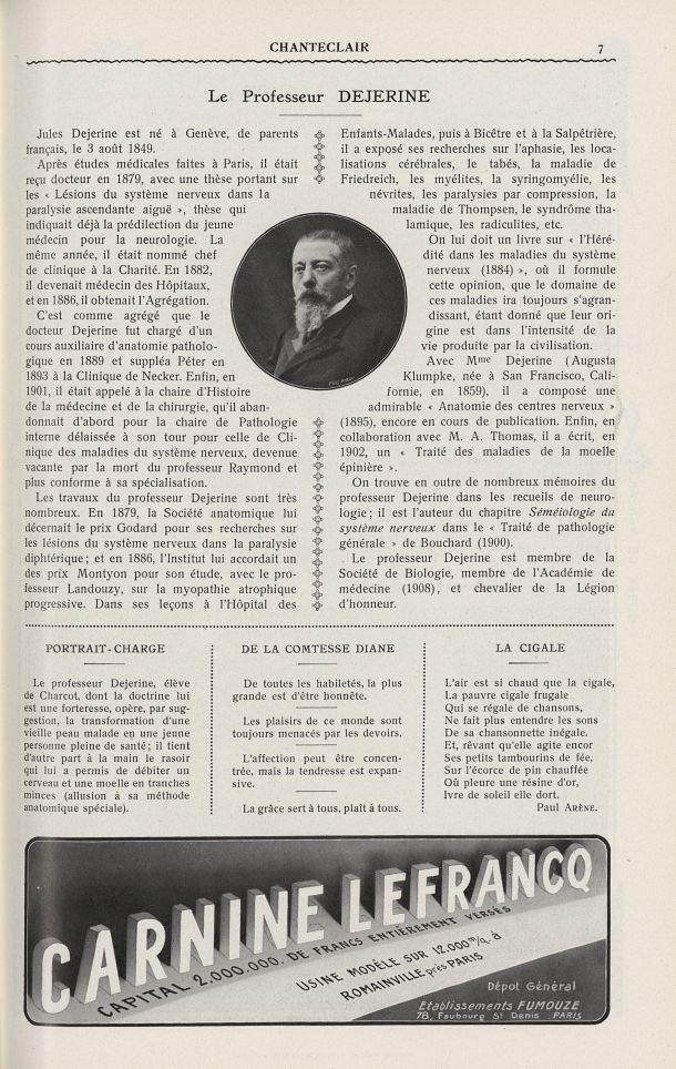 Le Professeur Dejerine - Chanteclair -  - medchanteclx1912x07x0095