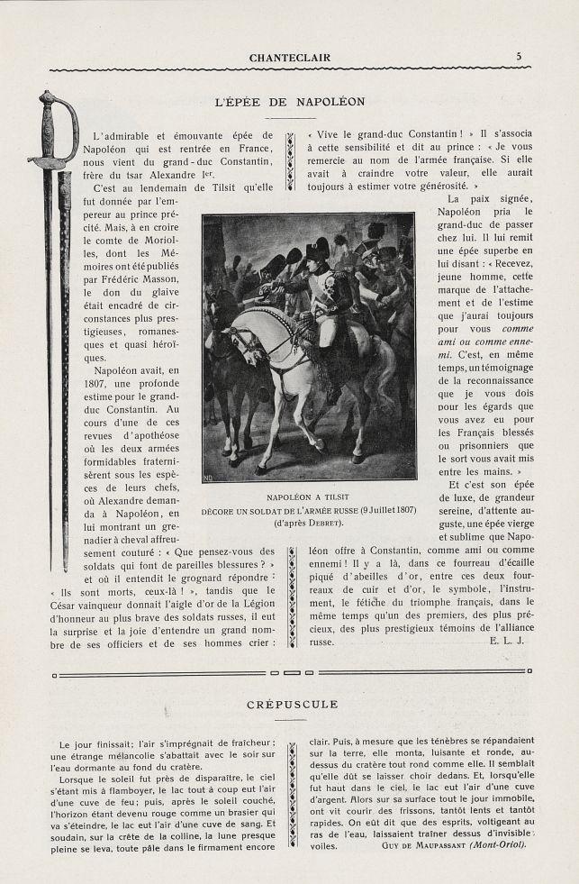 Napoléon à Tilsit décore un soldat de l'armée russe (9 juillet 1807) (Debret) - Chanteclair -  - medchanteclx1913x08x0141