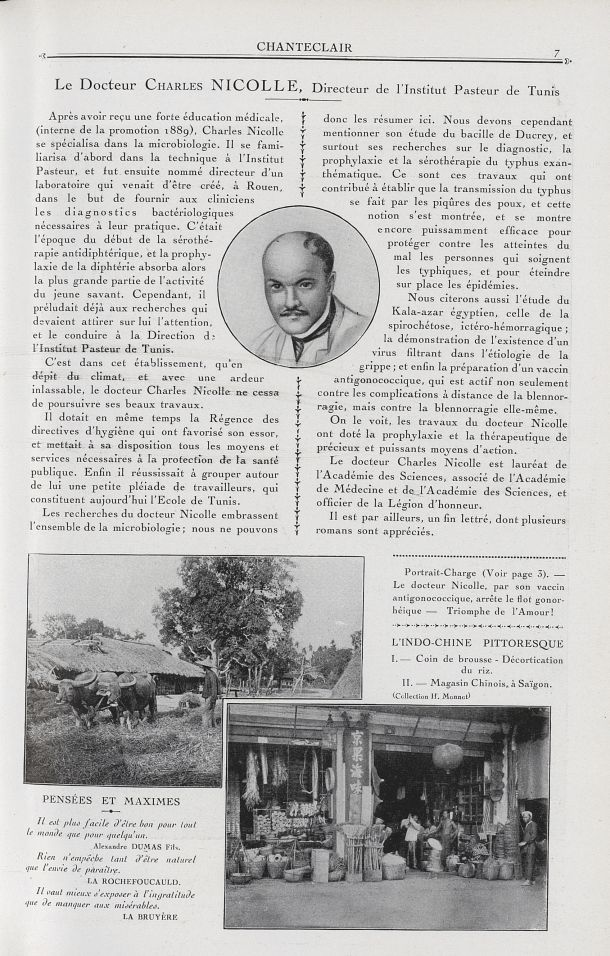 Le Docteur Charles Nicolle, Directeur de l'Institut Pasteur de Tunis / L'Indo-Chine pittoresque. I.  [...] -  - medchanteclx1921x11x0023