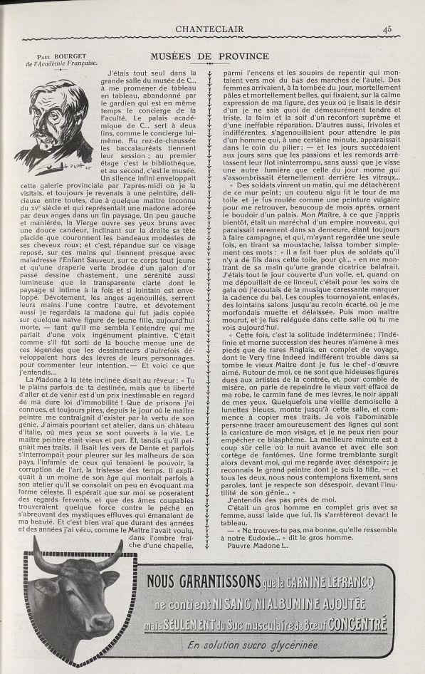 Paul Bourget de l'Académie française - Chanteclair -  - medchanteclx1925x15x0045