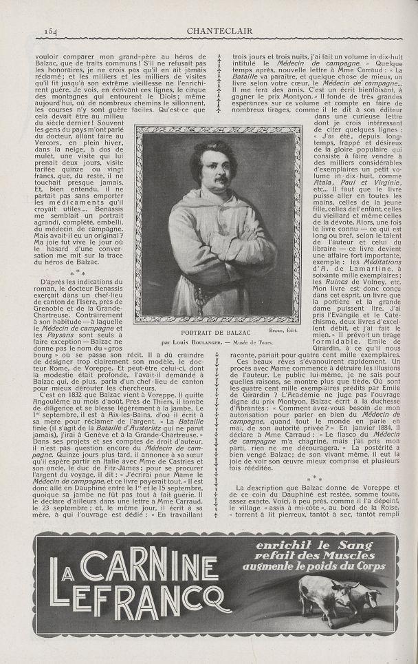 Portrait de Balzac (Louis Boulanger) - Chanteclair -  - medchanteclx1926x16x0002