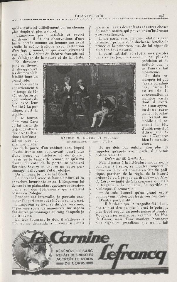 Napoléon, Goethe et Wieland (Hillemacher) - Chanteclair -  - medchanteclx1927x17x0021