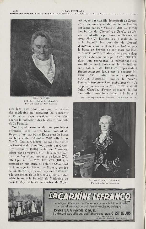 Philippe Pinel. Médecin en chef de la Salpêtrière (Mme Merimée) / Antoine-Claude Chaptal (Lemonnier) [...] -  - medchanteclx1927x17x0086